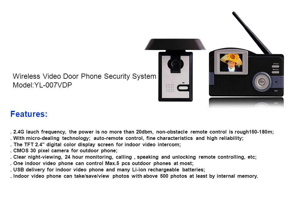 Features: Wireless Video Door Phone Security System Model:YL-007VDP