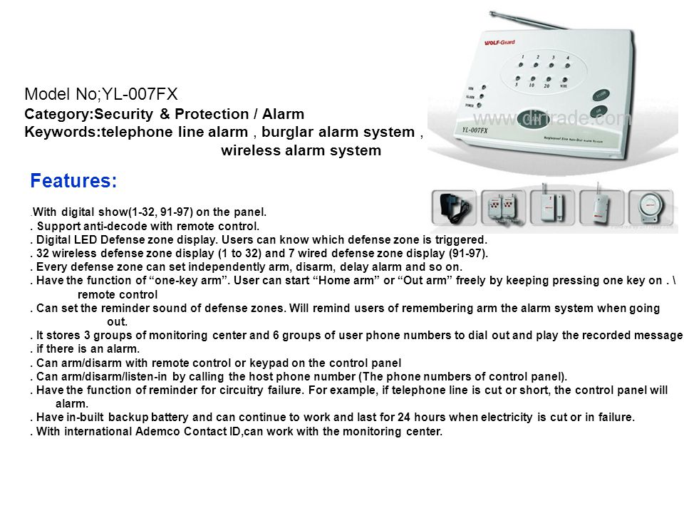Features: Model No;YL-007FX Category:Security & Protection / Alarm