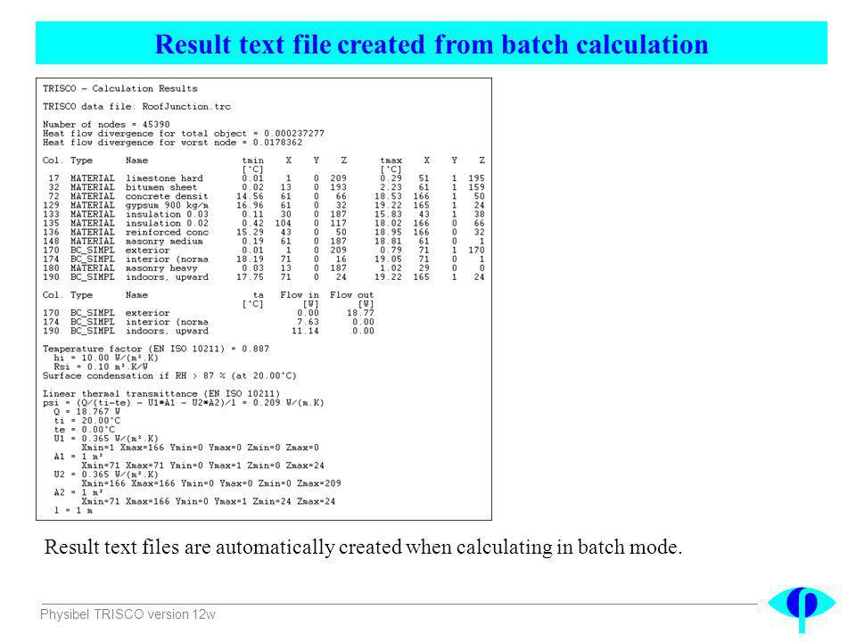 Result text file created from batch calculation
