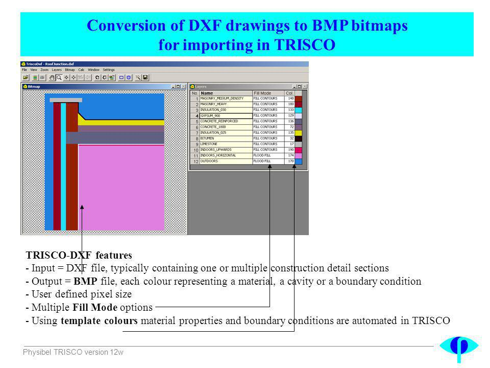 Conversion of DXF drawings to BMP bitmaps for importing in TRISCO
