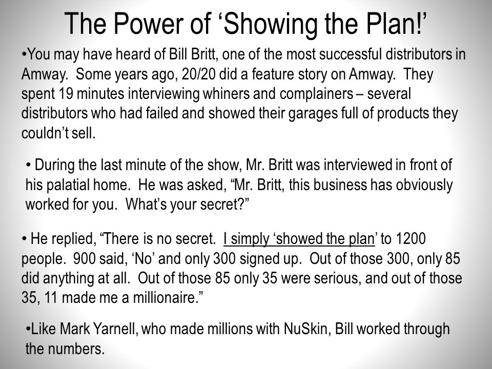 The Power of 'Showing the Plan!'