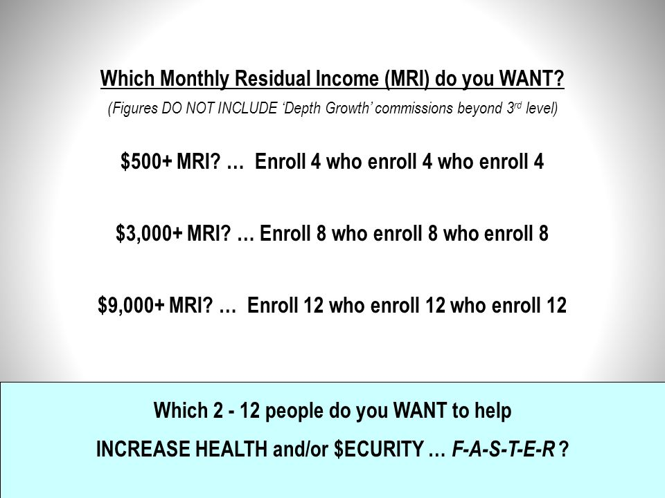 Which Monthly Residual Income (MRI) do you WANT