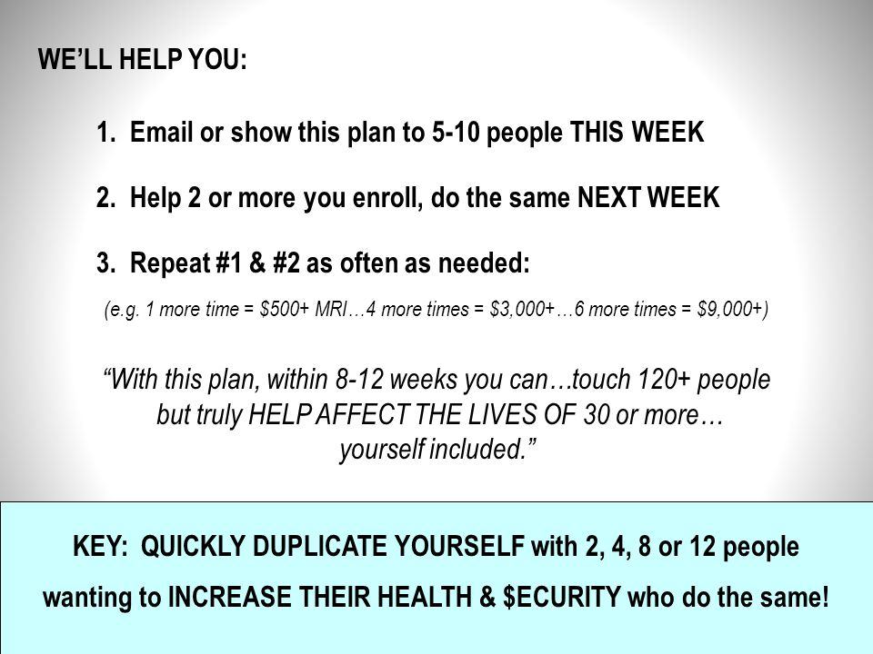 1. Email or show this plan to 5-10 people THIS WEEK