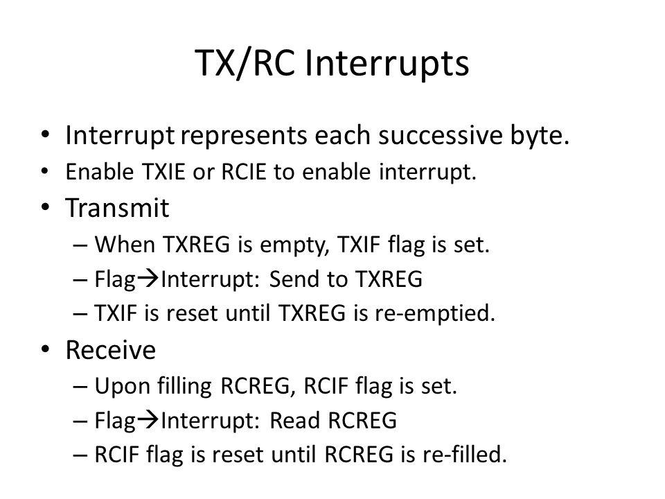 TX/RC Interrupts Interrupt represents each successive byte. Transmit