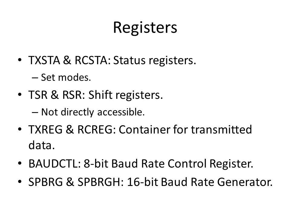 Registers TXSTA & RCSTA: Status registers. TSR & RSR: Shift registers.