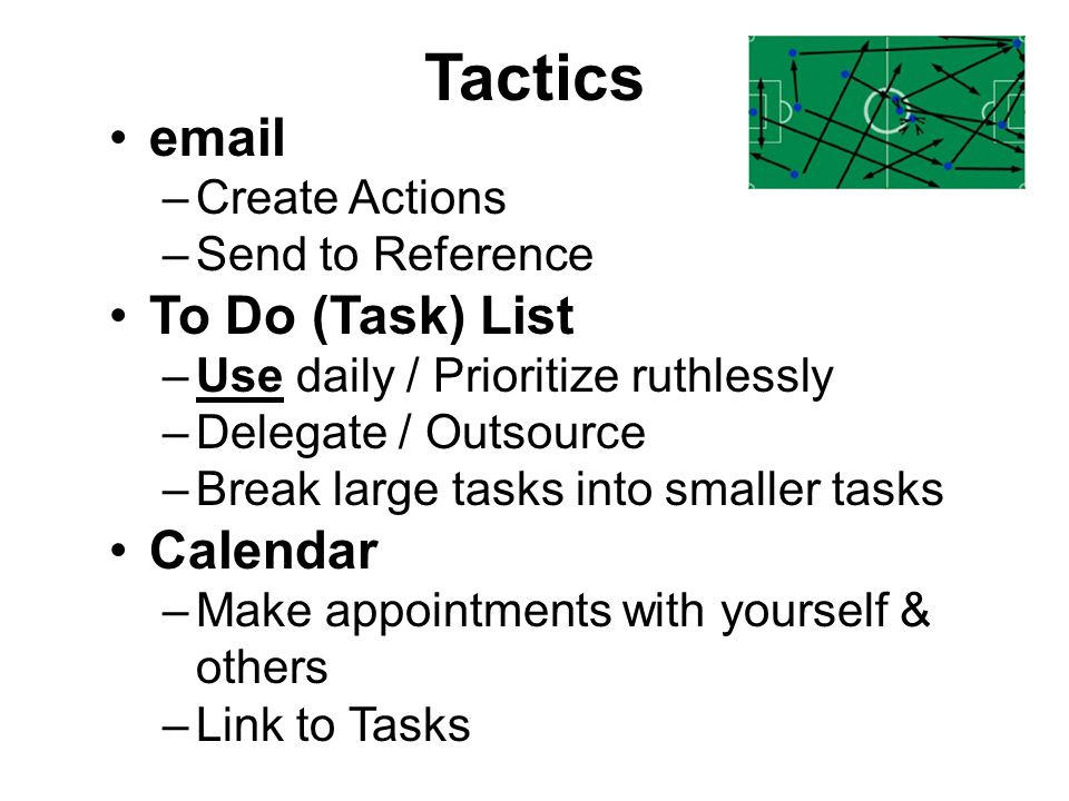 Tactics email To Do (Task) List Calendar Create Actions