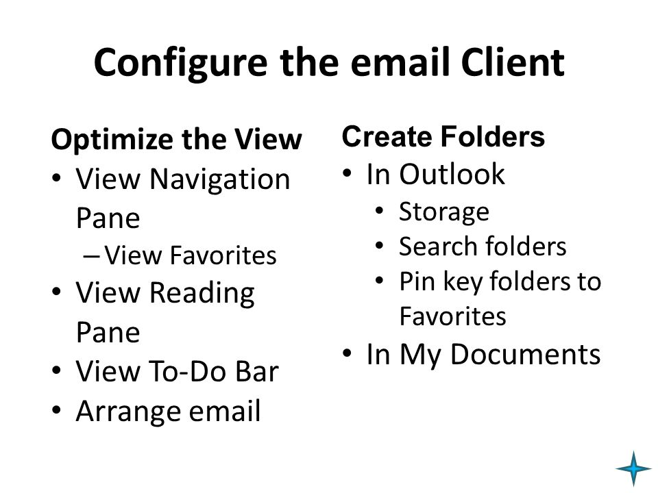 Configure the email Client