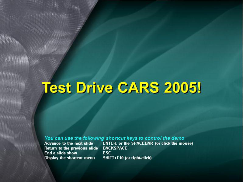 Test Drive CARS 2005! You can use the following shortcut keys to control the demo.