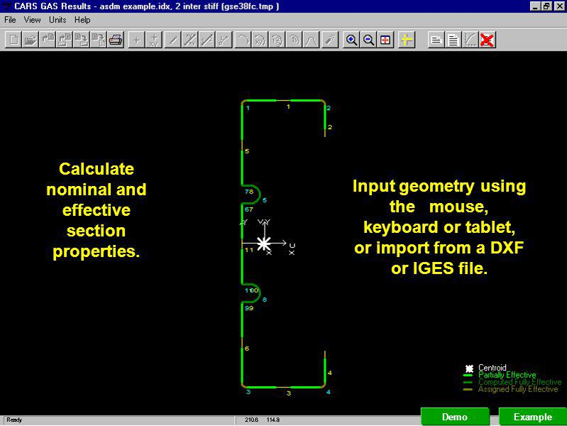 Calculate nominal and effective section properties.