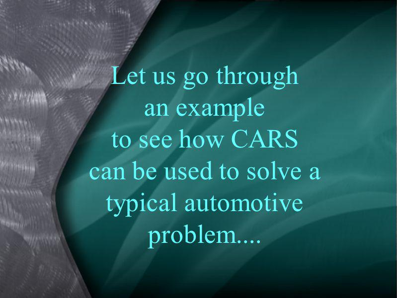 Let us go through an example to see how CARS can be used to solve a typical automotive problem....