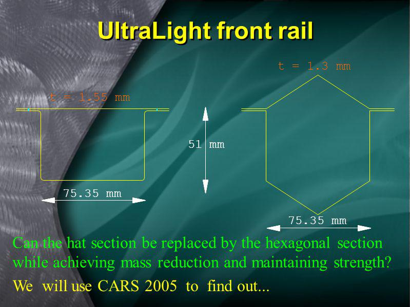 UltraLight front rail t = 1.3 mm. t = 1.55 mm. 51 mm. 75.35 mm. 75.35 mm.