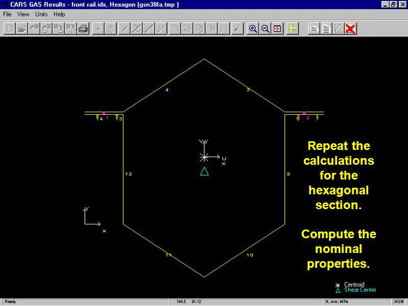 Repeat the calculations for the hexagonal section.