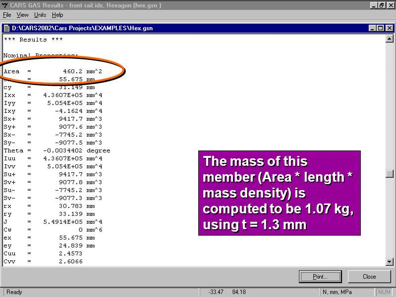 The mass of this member (Area. length