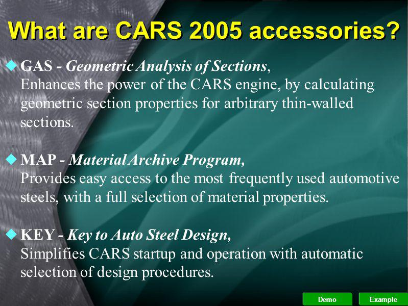 What are CARS 2005 accessories