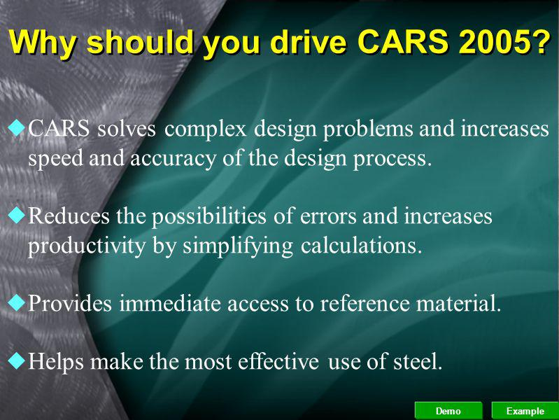 Why should you drive CARS 2005
