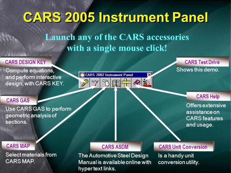 Launch any of the CARS accessories with a single mouse click!