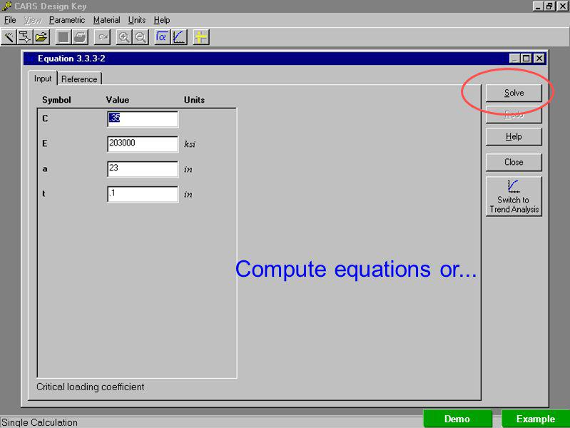 Compute equations or... Demo Example