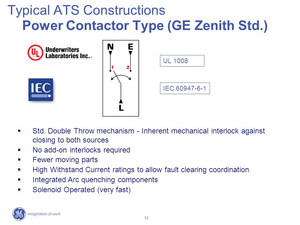 Typical ATS Constructions Power Contactor Type (GE Zenith Std.)