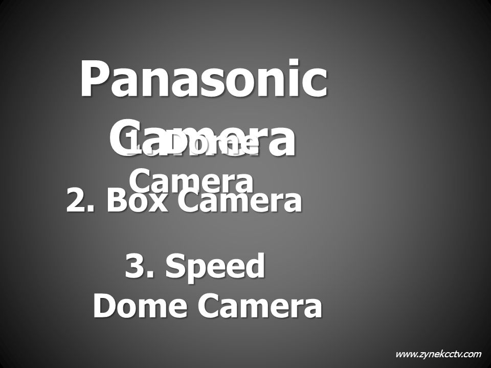 Panasonic Camera 1. Dome Camera 2. Box Camera 3. Speed Dome Camera
