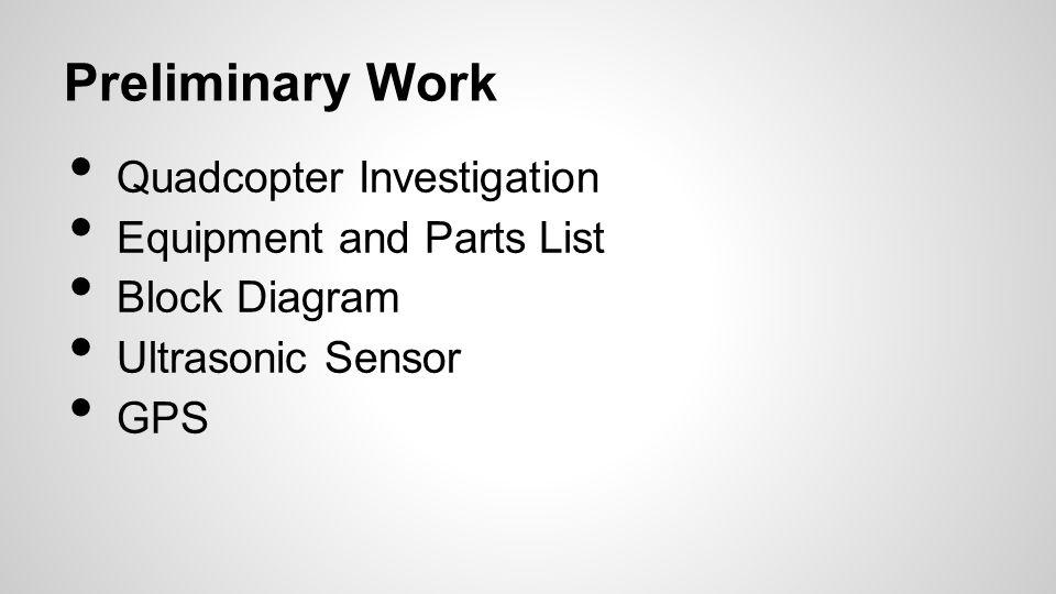 Preliminary Work Quadcopter Investigation Equipment and Parts List