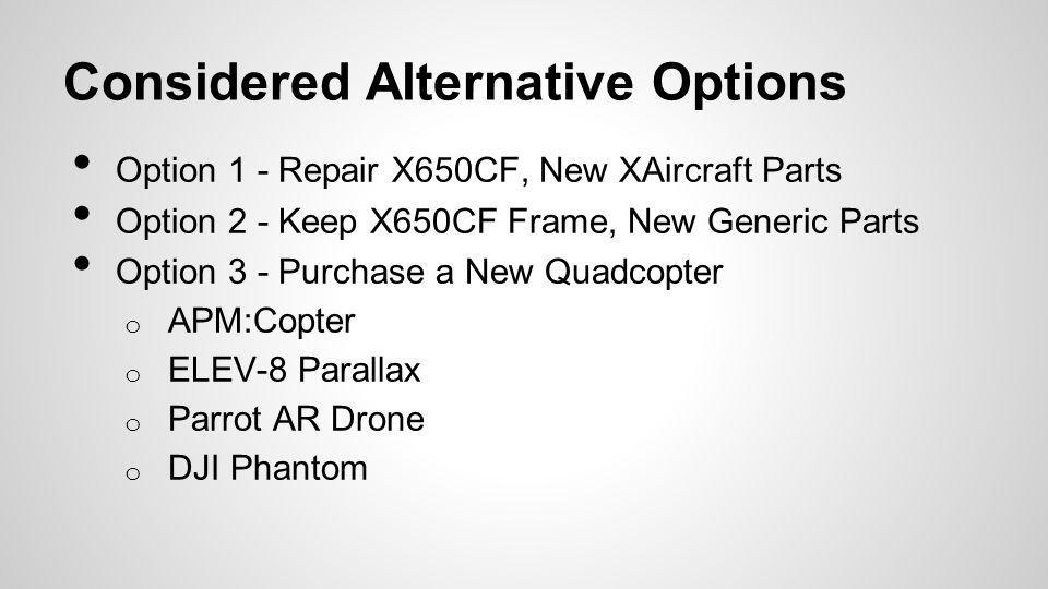 Considered Alternative Options