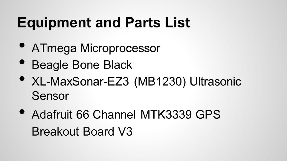 Equipment and Parts List