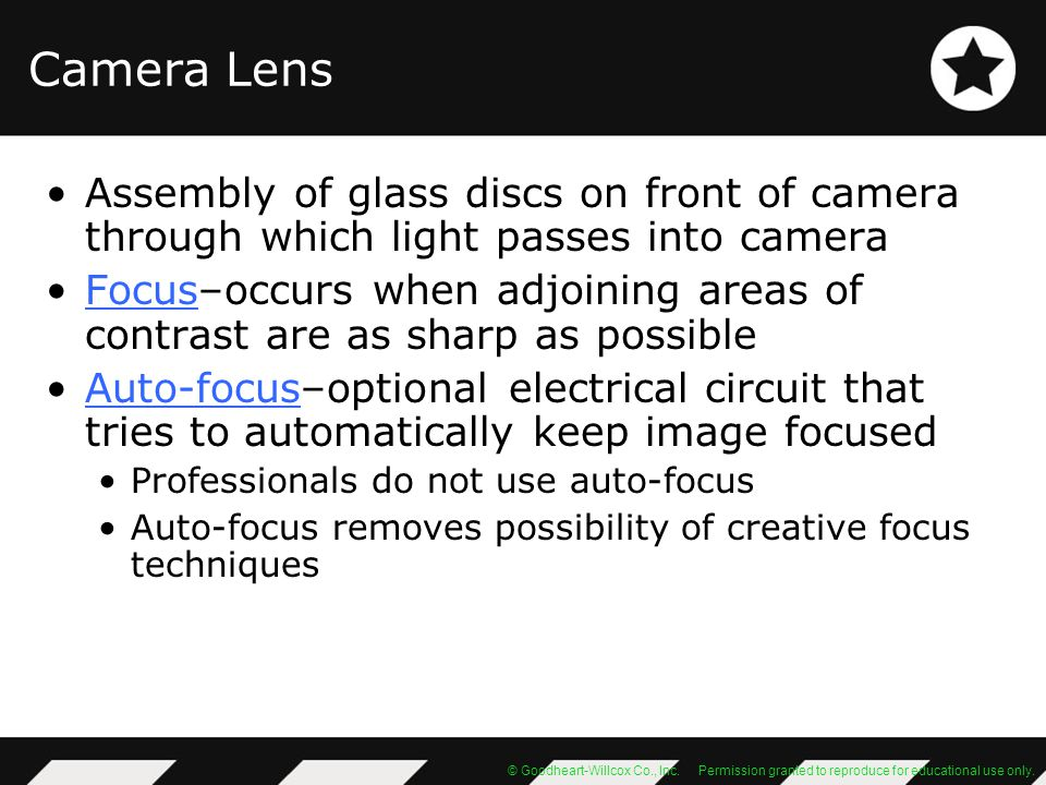 Camera Lens Assembly of glass discs on front of camera through which light passes into camera.