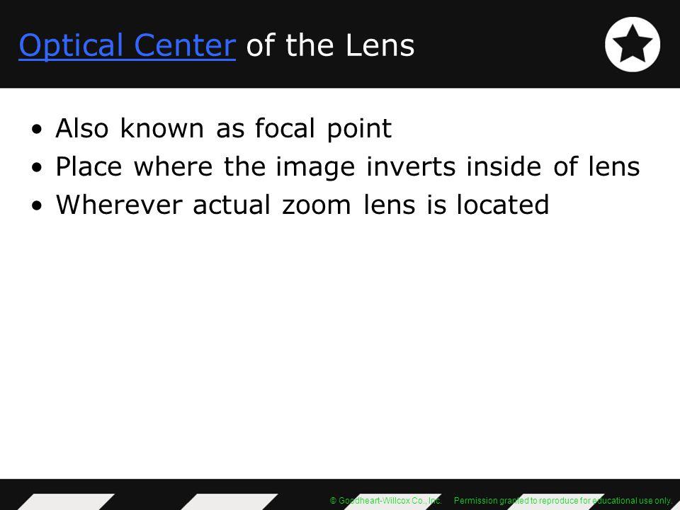 Optical Center of the Lens
