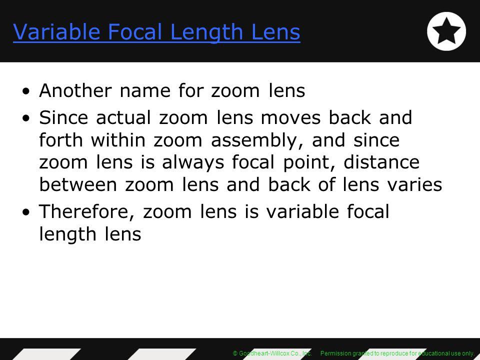 Variable Focal Length Lens