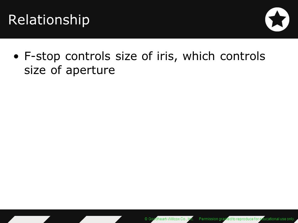 Relationship F-stop controls size of iris, which controls size of aperture