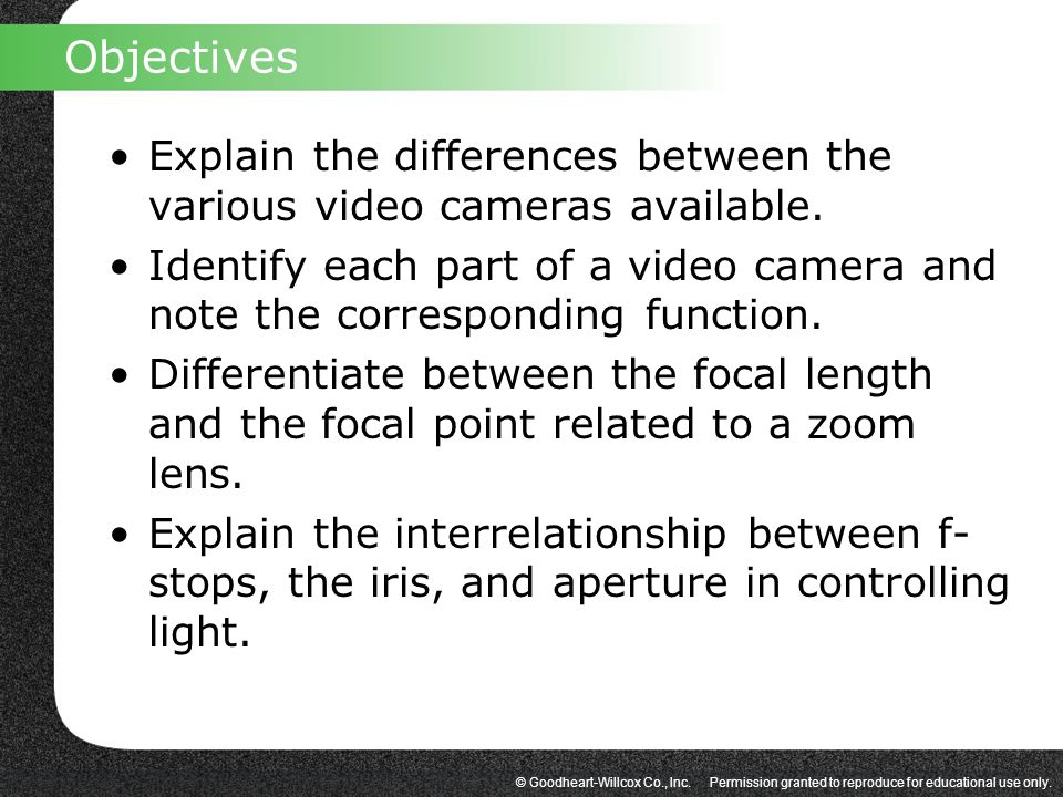 Objectives Explain the differences between the various video cameras available.