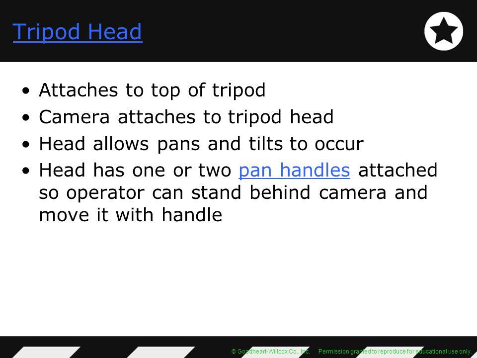 Tripod Head Attaches to top of tripod Camera attaches to tripod head