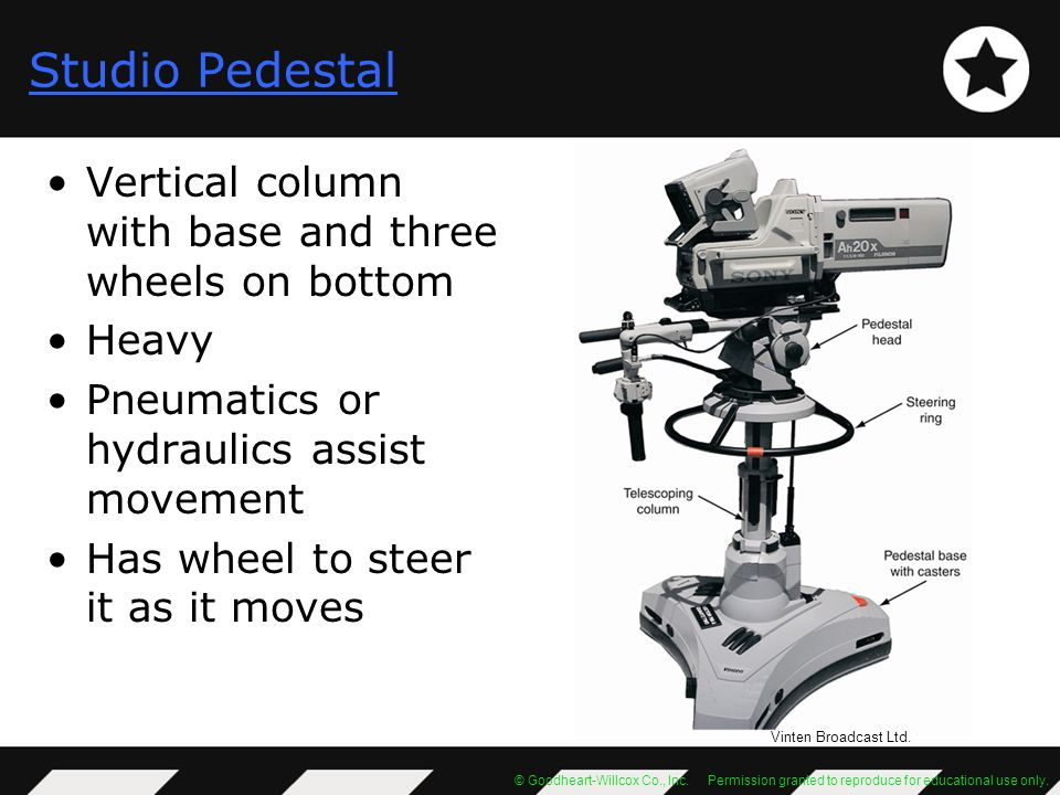 Studio Pedestal Vertical column with base and three wheels on bottom
