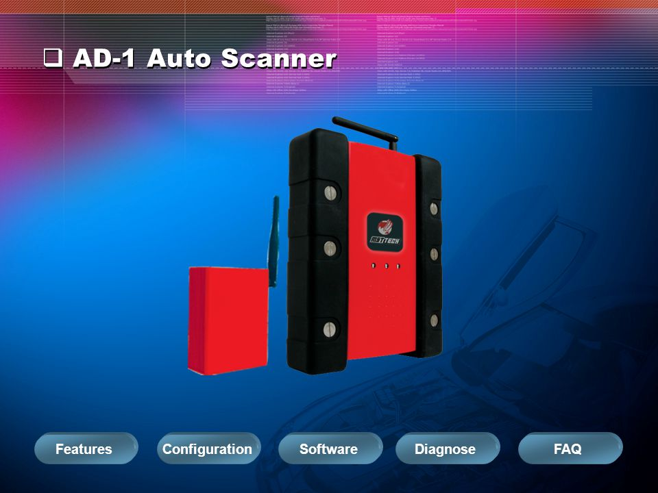 AD-1 Auto Scanner Configuration Software Diagnose FAQ Features