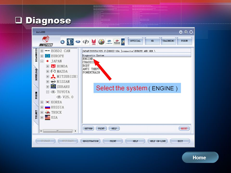 Diagnose Select the system ( ENGINE ) Home