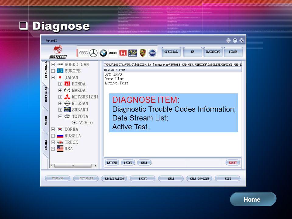 Diagnose DIAGNOSE ITEM: Diagnostic Trouble Codes Information; Data Stream List; Active Test. Home