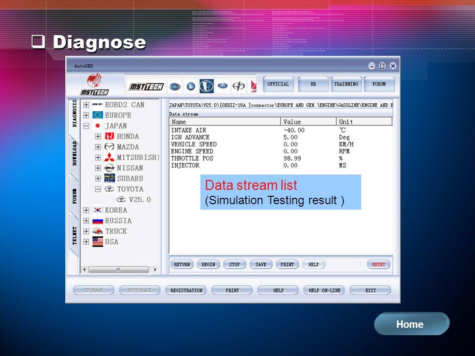 Diagnose Data stream list (Simulation Testing result ) Home