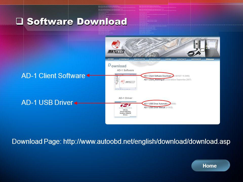 Software Download AD-1 Client Software AD-1 USB Driver