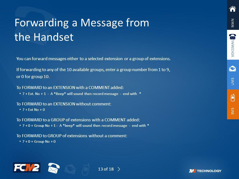 Forwarding a Message from the Handset