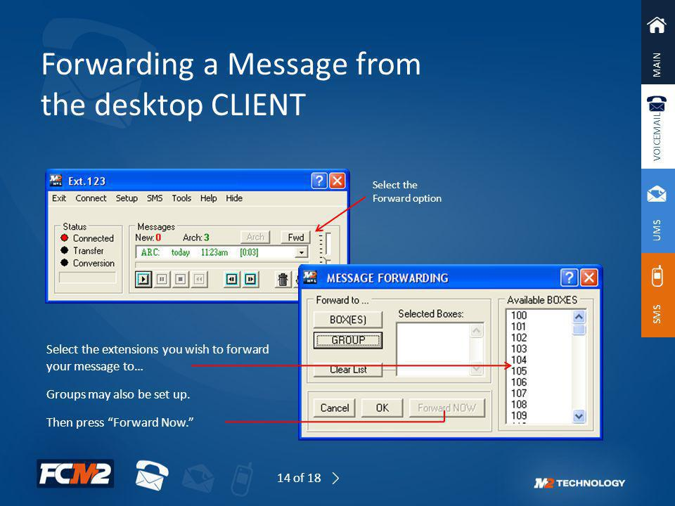 Forwarding a Message from the desktop CLIENT