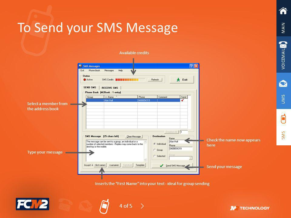 To Send your SMS Message