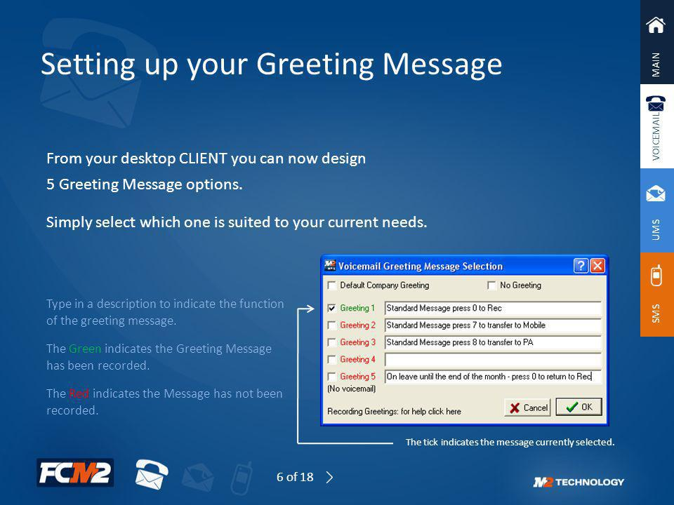 Setting up your Greeting Message
