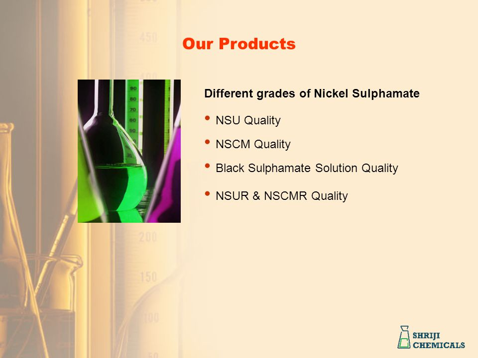 Black Sulphamate Solution Quality