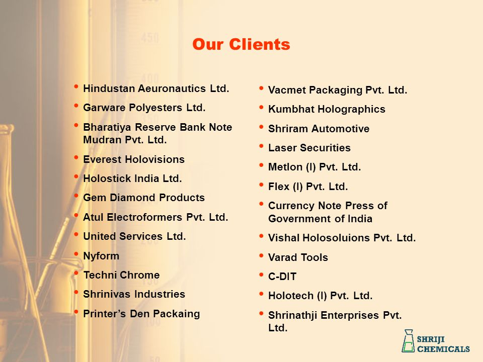 Our Clients Hindustan Aeuronautics Ltd. Vacmet Packaging Pvt. Ltd.