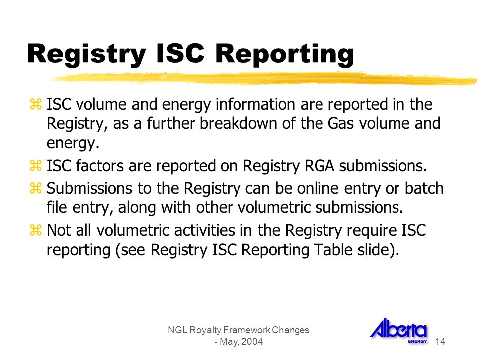 Registry ISC Reporting