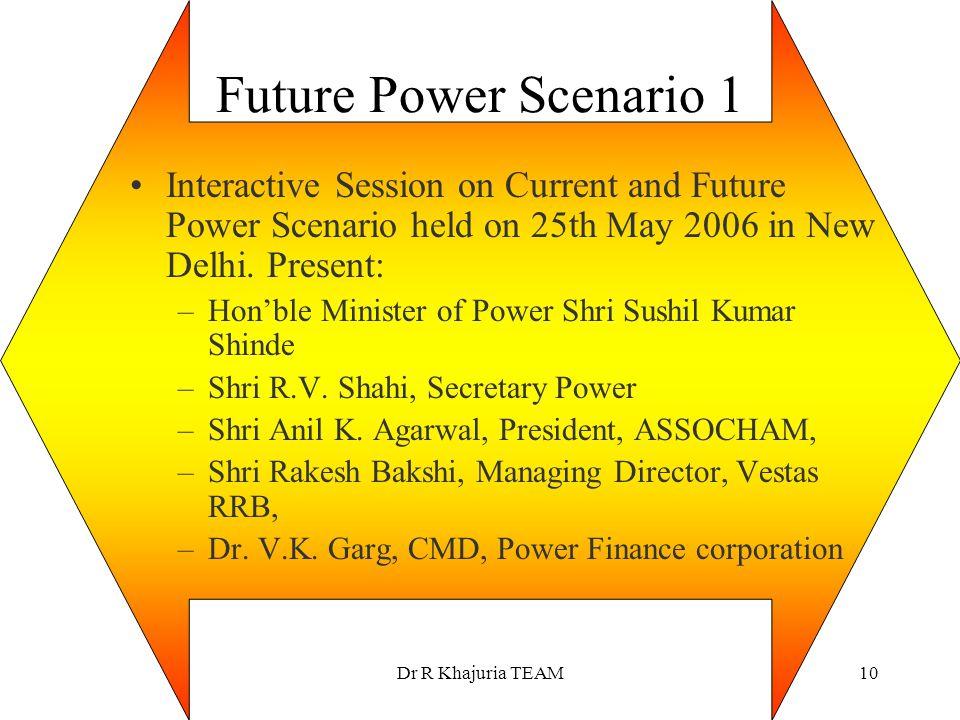 Future Power Scenario 1 Interactive Session on Current and Future Power Scenario held on 25th May 2006 in New Delhi. Present: