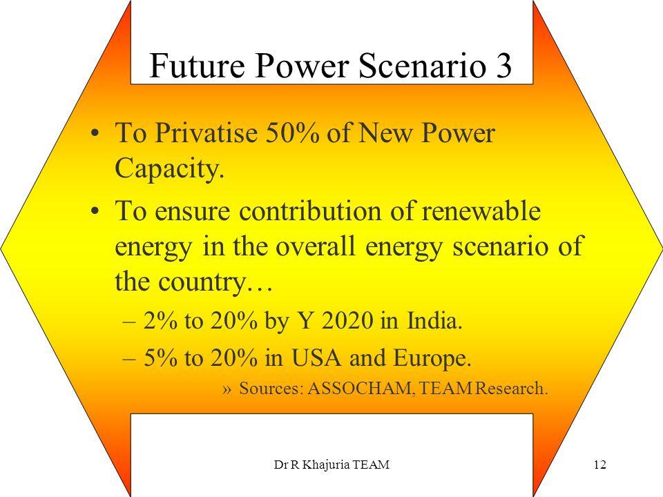 Future Power Scenario 3 To Privatise 50% of New Power Capacity.