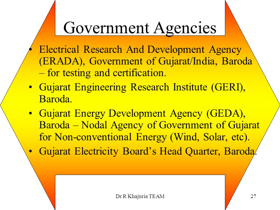 Government Agencies Electrical Research And Development Agency (ERADA), Government of Gujarat/India, Baroda – for testing and certification.