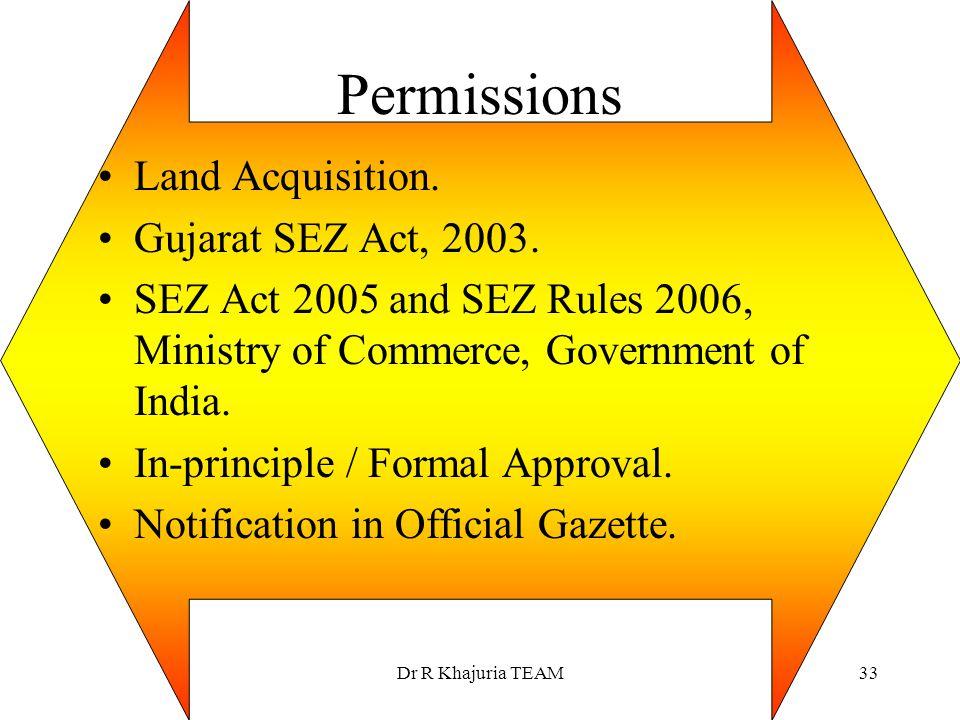 Permissions Land Acquisition. Gujarat SEZ Act, 2003.