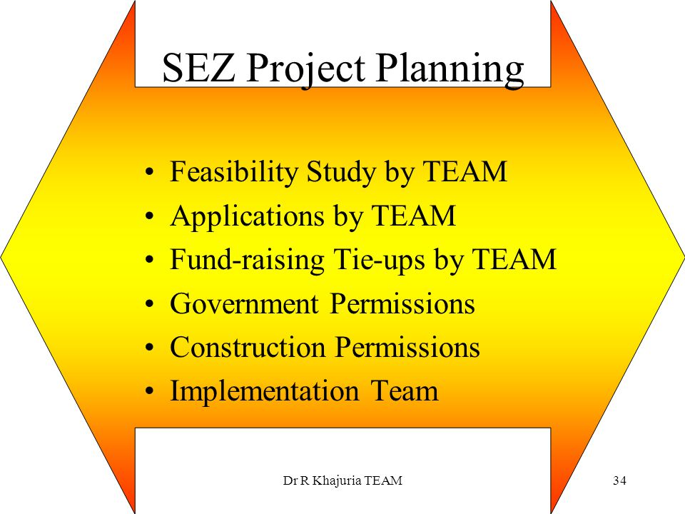 SEZ Project Planning Feasibility Study by TEAM Applications by TEAM